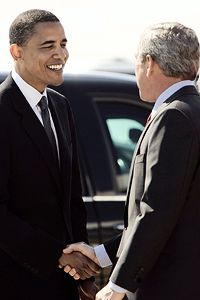 Bush is Leaving, But Obama Pledges to Keep the Faith